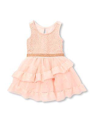 The Children's Place Baby Girls Sleeveless Rose Gold Glitter Tutu Dress