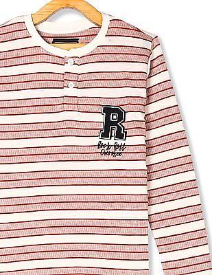 Cherokee Rust And White Boys Knit Stripe Henley T-Shirt
