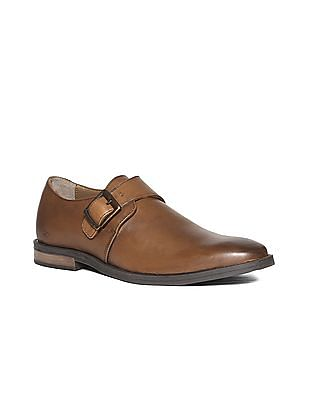 Arrow Burnished Leather Monk Strap Shoes