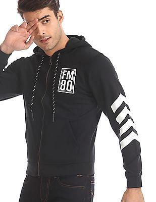Flying Machine Black Printed Hooded Sweatshirt