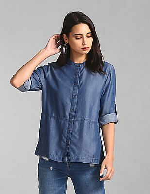 GAP Blue Mandarin Neck Chambray Shirt