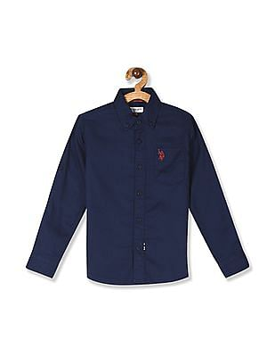 U.S. Polo Assn. Kids Blue Boys Button Down Collar Patch Pocket Shirt