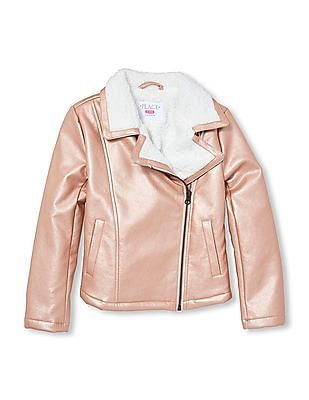 The Children's Place Girl Rose Gold Faux Sherpa Lined Moto Jacket