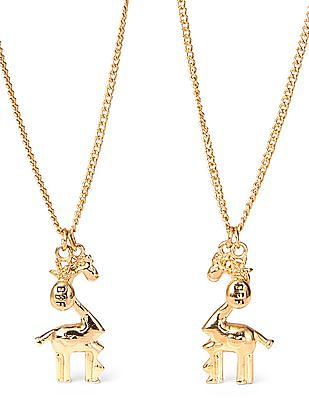 The Children's Place Girls Giraffe And Pineapple BFF Charm Necklace Set
