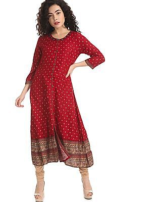 Anahi Red Round Neck Printed Kurta