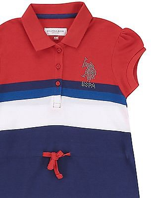 U.S. Polo Assn. Kids Girls Striped Pique Polo Dress