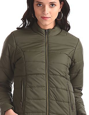 Cherokee Green High Neck Quilted Jacket