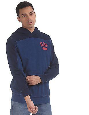 GAP Men Blue Panelled Logo Pullover Hoodie