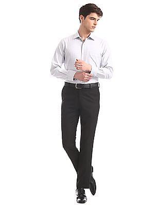 Arrow Grey Mitered Cuff Check Shirt