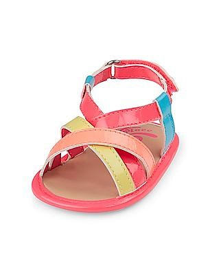The Children's Place Baby Girls Pink Multicolour Cross Strap Sandal