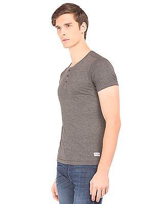 Flying Machine Heathered Slim Fit Henley T-Shirt
