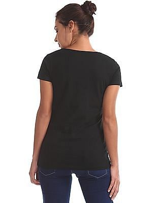 Flying Machine Women Round Neck Solid T-Shirt
