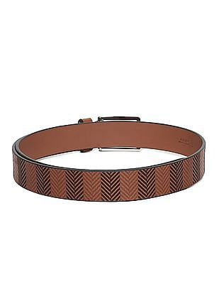 Arrow Sports Brown Printed Leather Belt