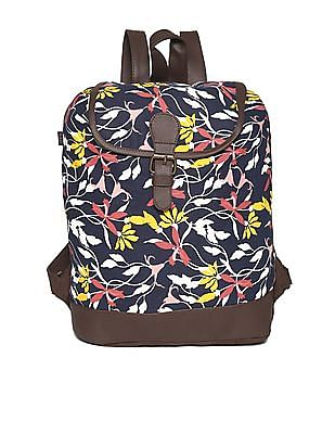 SUGR Navy And Brown Floral Print Backpack