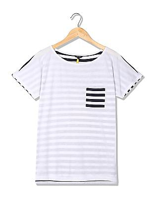 Nautica Extended Sleeves Pocket Striped Tee