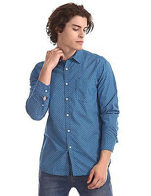 Flying Machine Blue Long Sleeve Printed Shirt