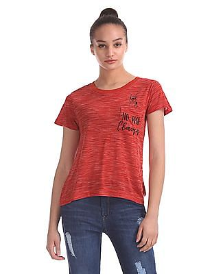 Flying Machine Women Patch Pocket Heathered T-Shirt