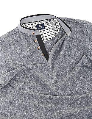 True Blue Regular Fit Mandarin Collar Polo Shirt