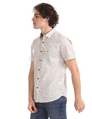 U.S. Polo Assn. Denim Co. White Printed Short Sleeve Shirt