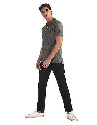 U.S. Polo Assn. Grey Slim Fit Heathered Polo Shirt