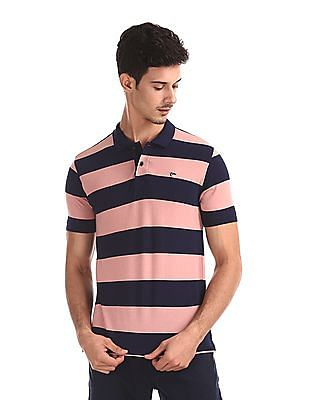 Ruggers Pink And Navy Striped Pique Polo Shirt