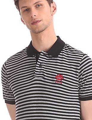 U.S. Polo Assn. Grey And Black Striped Cotton Pique Polo Shirt