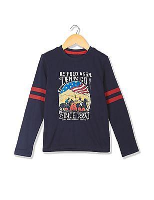 U.S. Polo Assn. Kids Boys Long Sleeves Round Neck T-Shirt