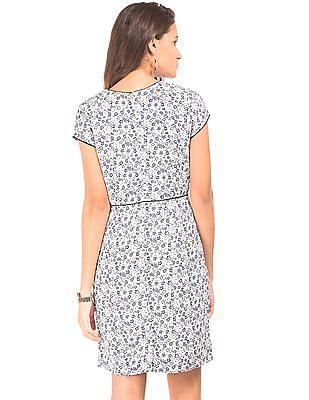 Arrow Woman Flower Print A-Line Dress