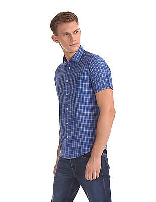 Arrow Sports Check Cotton Linen Shirt