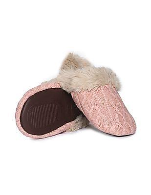 Aeropostale Faux Fur Knit Sandals