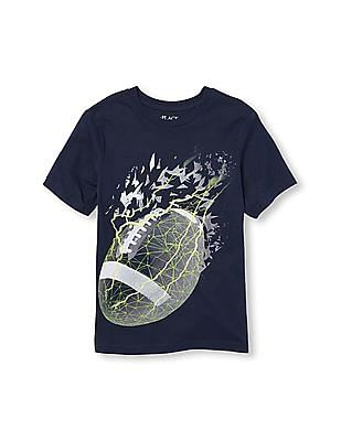 The Children's Place Boys Short Sleeve Pixelated Football Graphic Tee
