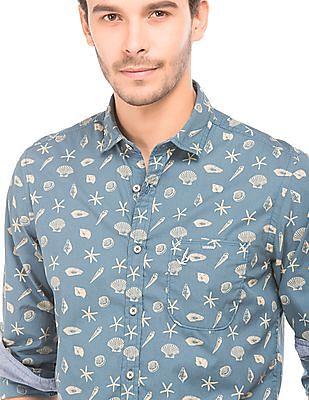 Bayisland Nautical Print Slim Fit Shirt