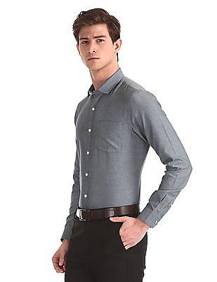 Excalibur Blue Semi Cutaway Collar Patterned Weave Shirt