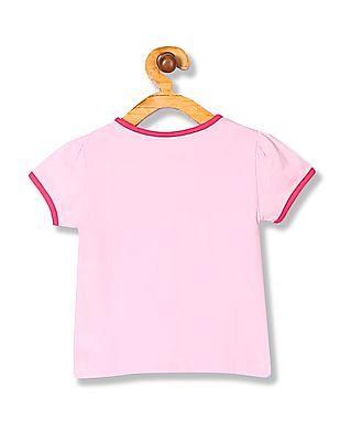 Donuts Girls Round Neck Printed T-Shirt