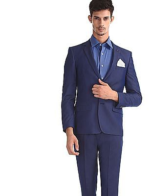 Arrow Blue Single Breasted Patterned Suit