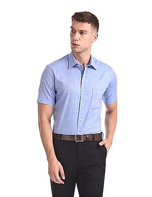 Arrow Short Sleeve Herringbone Weave Shirt