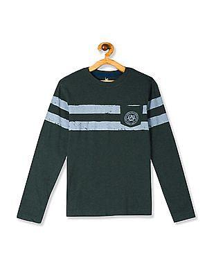 U.S. Polo Assn. Kids Green Boys Crew Neck Striped Chest T-Shirt