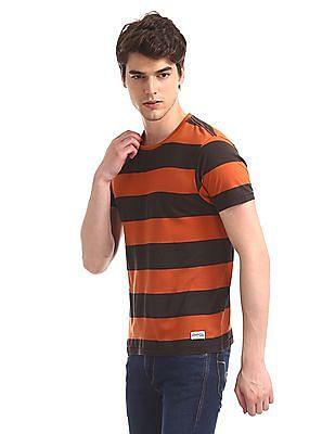 Flying Machine Orange Rust And Brown Horizontal Stripe T-Shirt