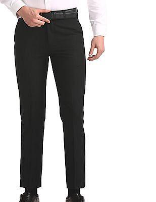 Excalibur Black Slim Fit Check Trousers