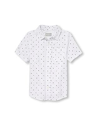 The Children's Place Boys Short Sleeve Square Dot Printed Poplin Button Down Shirt