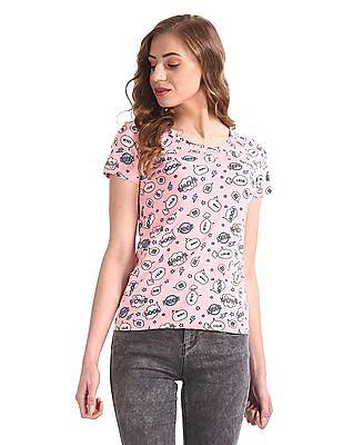 SUGR Pink Cotton Printed T-Shirt