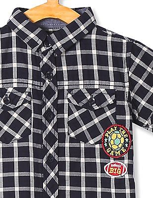 Donuts Boys Short Sleeve Check Shirt