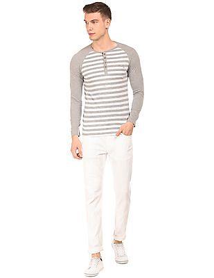 Cherokee Regular Fit Striped Henley T-Shirt