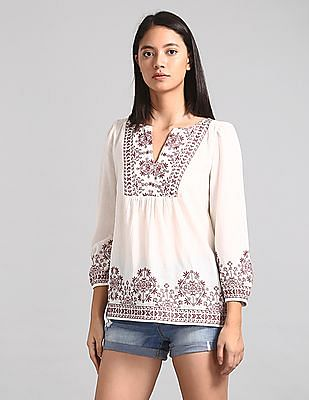 GAP Embroidered Bib-Front Blouse