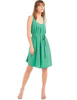 GAP Women Green Silky Scoop Dress