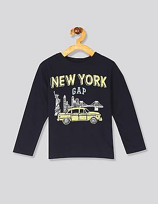 GAP Blue Toddler Boy Long Sleeve City Graphic T-Shirt