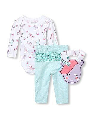 The Children's Place Baby Girls Unicorn Bodysuit, Leggings And Bib 3-Piece Playwear Set
