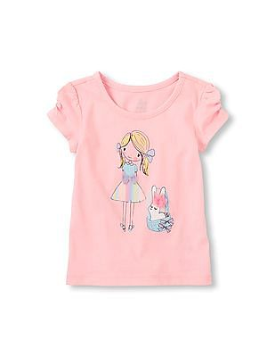 The Children's Place Toddler Girl Pink Ruched Short Sleeve Top