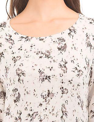U.S. Polo Assn. Women Floral Print Round Neck Sweater