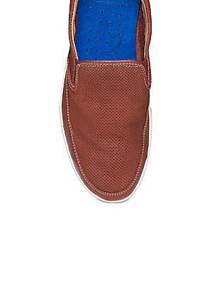 Johnston & Murphy Contrast Sole Perforated Slip On Shoes
